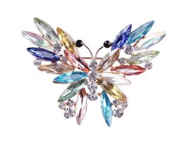 steel brooch UK - fashion Big Crystal butterfly Top Quality Silver Tone Drop Brooch Exquisite Big Diamante Jewelry Brooch Large Crystal Women Broach