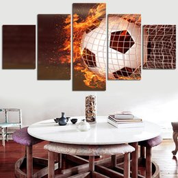 $enCountryForm.capitalKeyWord NZ - Wall Art Frame 5 Pieces Football Abstract Painting Canvas Pictures Modular Living Room HD Print Flame Soccer Poster Home Decor