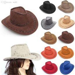 Atacado-Novo Design Cowboy Chapéus Camurça Olhar Oeste Selvagem Fantasia Vestido Popular Homens e Senhoras Cowgirl Unisex Chapéus Frete Grátis GHN784