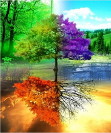 """Impressionist Tree Paintings NZ - Full Square Round Drill 5D DIY Diamond Painting """"Four season tree"""" Embroidery Cross Stitch Mosaic Home Decor Art Experience toys Gift A0102"""