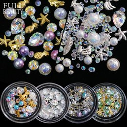 Nails Beads Canada - Full Beauty Mixed Nail Art Rhinestone Pearl 3D Decorations Metal Frame Caviar Beads Studs Mermaid AB Stone Manicure Tool CH30-36