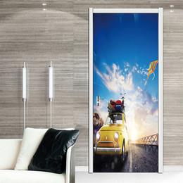 3d Cars Wall Sticker NZ - 2pcs set Cloud Car kite 3D Effect DIY Door Sticker Home Decoration Landscape Removable Mural Art Bedroom Living Room Waterproof Vinyl Decal