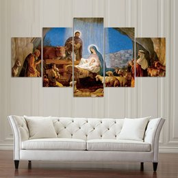 $enCountryForm.capitalKeyWord UK - Canvas Pictures Home Decor Framework For Living Room Wall Art 5 Pieces Birth Christian Jesus Paintings HD Prints Poster