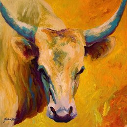 giclee watercolor print Australia - Giclee the urge to merge [creamy-texan--longhorn] oil painting arts and canvas wall decoration art Oil Painting on Canvas