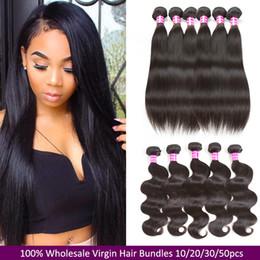 Discount cheap wavy hair extensions remy - 10A Grade Mink Brazilian Straight Virgin Human Hair Bundles Wet and Wavy Body Wave Hair Weaves Peruvian Cheap Remy Hair