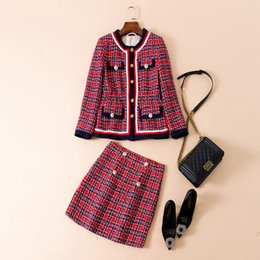Sh faShion online shopping - New Arrival Autumn Brand Same Style Two Piece Dress Coat Red Plaid Above Knee Empire Fashion Prom Womens Clothes SH