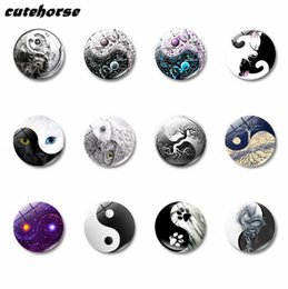 Discount glass yin - CUTEHORSE 12pcs set hot sales Yin and Yang tai chi series image fridge magnets tape whiteboard glass magnetic stickers