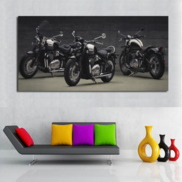 $enCountryForm.capitalKeyWord Australia - 1 Panel Canvas Art Print Poster Speedmaster Three Black Motorcycle Painting Wall Art Pictures for Living Room Modular Picture No Frame