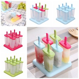 Discount popsicle cartoon - 4 Colors 6pcs Creatived Ice Cream Popsicle Mold Cooking Tools Round Shaped Reusable DIY Frozen Pop Baking Moulds Cartoon