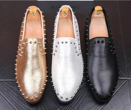 Silver Falls Australia - 2018 New style Men loafers gold Silver Diamond rivets surface design party man flats Spiked Loafers Rivets shoes Wedding Dress Men Flats G42