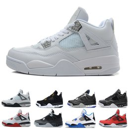 mesh fire 2019 - Wholesale 4 4s Basketball Shoes mens Pure Money Sport Shoes White Cement Motosports blue Royalty Black Cat Fire Red Oreo