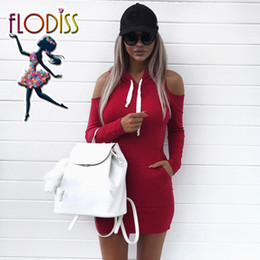FLODISS Sport Hoodies Pockets Sportswear 2018 Women Long Sleeve Off Shoulder Running Suit Workout Clothes Fitness Wear Gym Dress on Sale