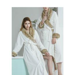 Men Women Autumn Winter Flannel Bathrobes Couple Luxury Fake Fur Collar Warm  Robes For Male Female Long Nightgown Home Wear a4a2e98c1