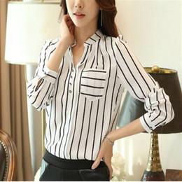 $enCountryForm.capitalKeyWord Australia - 2018 Autumn Striped White Blouses Women Chiffon Tops V Neck Long Sleeve Shirts Elegant Office Work Blusas Femininas Plus Size