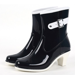 black white short boot Canada - Fashion Buckle Ladies Rain Boots High Heel Waterproof Ankle Rubber Plus Size Woman Short Rain Boots Black Beige White