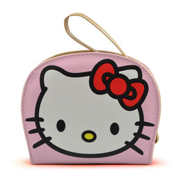 Chinese  Women Short Wallets PU Leather Semicircle Cartoon Purses Hello Kitty Zipper Card Holder Wallet Girls Coin Purse with Hand Strap manufacturers