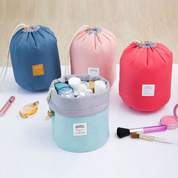 High Quality Barrel Shaped Travel Cosmetic Bag Nylon High Capacity Drawstring Elegant Drum Wash Bags Makeup Organizer Storage Bag Makeup bag