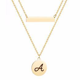 3b7e4b347c7 Louleur Bohemian Double Chain A-M Letter Pendant Necklace for Women Gold  Color Party Charms Choker Necklace Statement Jewelry
