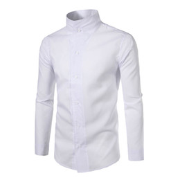 Discount collared v neck shirts mens - Brand 2017 Fashion Male Shirt Long-Sleeves Tops Personality Stand Collar Solid Color Mens Dress Shirts Slim Men Shirt