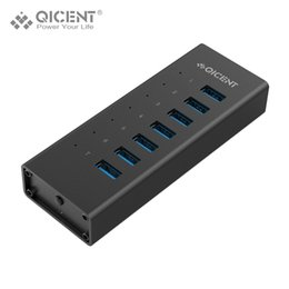 12v Powered Usb Adapter NZ - QICENT Aluminum USB 3.0 Powered HUB 7 Port BC 1.2 Charging HUB Splitter with 12V 2A Power Adapter for Mac Windows Linux
