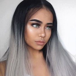 grey peruvian hair 2019 - Full Lace Wigs With Baby Hair Dark Roots 1B Grey Human Hair Wigs Ombre Silky Straight Lace Front Wig Two Tone discount g