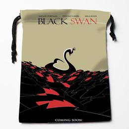 Discount swan bag wholesale - Custom Black Swan Drawstring Bags Custom Storage Bags Storage Printed gift More Size 27x35cm Compression Type