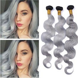 grey remy hair extensions 2019 - #1B Grey Ombre Peruvian Human Hair Body Wave Wavy Weave Extensions Dark Rooted Ombre Silver Grey Virgin Remy Human Hair
