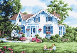 Garden Oil Paint NZ - 16x20 inches Bright Garden Girls Playing DIY Paint On Canvas drawing By Numbers Kits Art Acrylic Oil Painting Frame For Adults