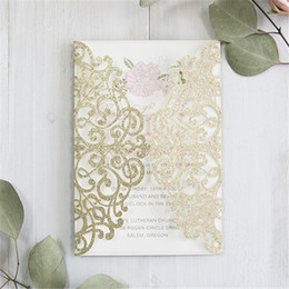 Laser cut wedding invitation kits canada best selling laser cut 2018 luxury pale gold and blush pink floral laser cut wedding invitation kits free shipping by ups stopboris Images
