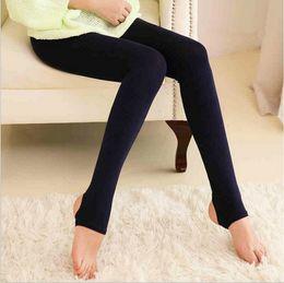 acrylic hose 2018 - 2016 Women's Soft Thick Velvet Warm Pants Stirrup Brushed Panty-hose Leggings Casual Slim Winter wholesale price Fr