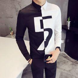 New desigNer tuxedo online shopping - Brand Designer Dress Shirt Men Fashion New Slim Fit Tuxedo Black White Patchwork Color Long Sleeve Prom Mens Casual Shirts
