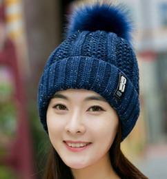 Pink rabbit fur scarf online shopping - luxury beanie letters Winter Women Ball Ski Rabbit Fur Hat PomPoms knitted scarf