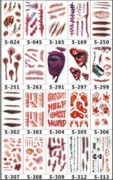 Water proof stickers online shopping - 2018 new Scars Tattoos Decor Sticker Halloween Series Stickers Fake Scab Makeup Party Horror Wound Scary Water Proof Paster hot item