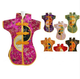 $enCountryForm.capitalKeyWord UK - Reusable Chinese Christmas Wine Bottle Clothes Cover Decorations Silk Brocade Packaging Bag Wedding 10pcs lot