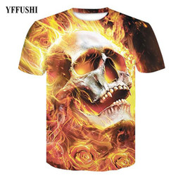 t shirt female skull 2019 - YFFUSHI 2018 New Arrival Male Female 3d Skull T Shirt Unique Fire Skull 3d Print T-shirt Shortsleeve Hip Hop Loose O-Nec