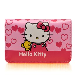 Chinese  Cute Cartoon Hello Kitty Famous Brand Designer Purse Women Leather Wallets For Girls Clutch Purse Lady Party Wallet Card Holder manufacturers