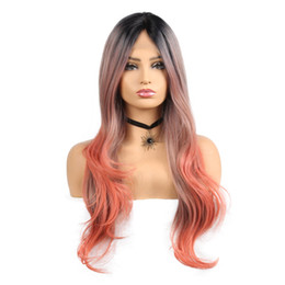 Chinese  26inch Long Wavy Lace Front Wigs for Women Black Ombre Orange Color Heat Resistent Fiber Synthetic Wigs manufacturers