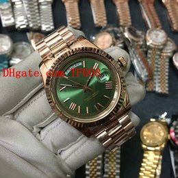 Discount 18k gold watches for mens - Hot sale Mens Automatic mechanical watches Top AAA quality Luxury watch for men Fashion Green Roman face 18K Rose gold b