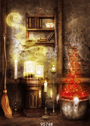 China Halloween backdrop broom candle bookshelf in mysterious old house photography backdrops vinyl cloth backgrounds for photo studio suppliers