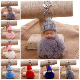 Trendy charms online shopping - Colorful Cute Sleeping Baby Doll Keychain Pompom Rabbit Fur Ball Car Keyring Women Holder Bag Pendant Charm High Quality qs Z