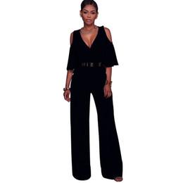 fda1146deeae 2017 Fashion Femme Summer autumn Jumpsuit Rompers Elegant V-Neck tunic Slim  Sashes Women plus size loose long Wide leg Overalls