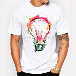 T shirT painTing designs online shopping - Painted Bulb Design Men S T Shirt Cool Fashion Tops Short Sleeve Tees For Men New Color