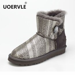 Wholesale UOERVLE Brand Snow Boot Natural Sheepskin Ankle Boot Women Crystal Buttons Wool Warm Short Boos Sequin White UO9952
