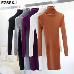 $enCountryForm.capitalKeyWord NZ - Ezsskj High elasticity autumn winter sweater dress women warm female Turtleneck knitted bodycon elegant Glitter club dress OL C18110701