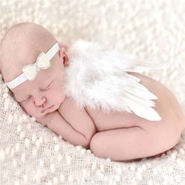white feather costume wings 2019 - Lovely Baby Angel Wing Newborn Photography Props Set Baby Angel Fairy White Feather Wing Costume Photo Prop Cupid Atrezz