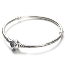 Charm sterling silver beads pandora braCelet online shopping - 100 Sterling Silver Womens Bracelets White CZ Micro Paved Heart Bracelet with box for Pandora beads European Charms