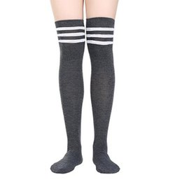 fc64117842e Thin woman socks online shopping - College Style Knee Stockings Three  Stripes Sports Socks Women Thin