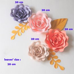paper flower decoration diy Australia - Giant Paper Flowers Backdrop Artificial Handmade Paper Rose 4PCS+Leaves 3PCS Wedding & Party Deco Home Decoration Video DIY