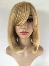 $enCountryForm.capitalKeyWord NZ - High Temperature Synthetic Wigs For Women Mixed Color White Blonde Short Straight Hair Cosplay Bob Hair Wigs With Bangs