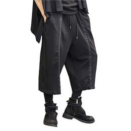 Hombres High Street New Loose Fashion Pantalones Harem Casual Streetwear  Pantalones anchos negros oscuros Pantalones Kimono estilo masculino de Japón f6576eea291